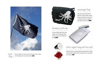 Bags, flags, business card cases and signet rings branded with the octopus logo mark