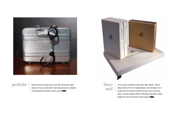 Branded attache cases with handcuffs for portfolios and book style mailers with dossiers for marketing collateral branded with the octopus mark