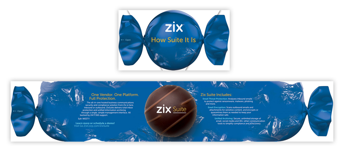 Outside and inside of direct mail featuring an unwrapping chocolate bon bon and the benefits of Zix Suite