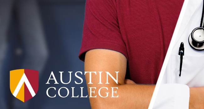 Austin College logo with student and doctor split-screen view